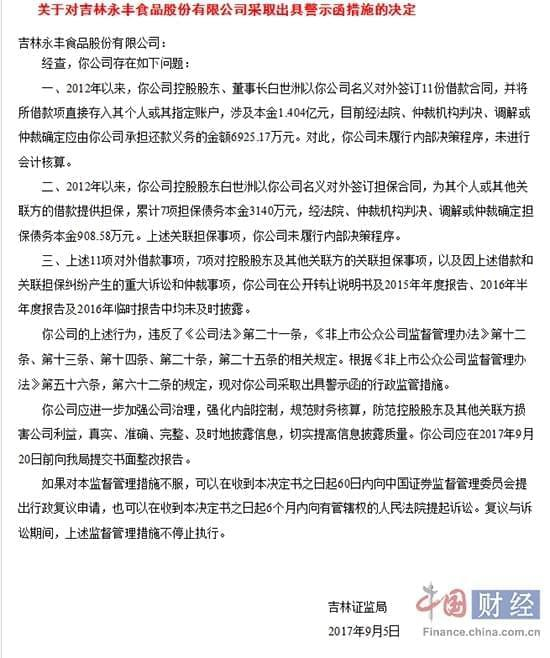 吉林永丰食品公司及董事长多项违规遭证监局警示