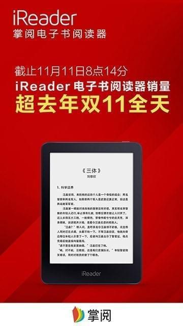 双11掌阅iReader阅读器前8小时销量超去年全天