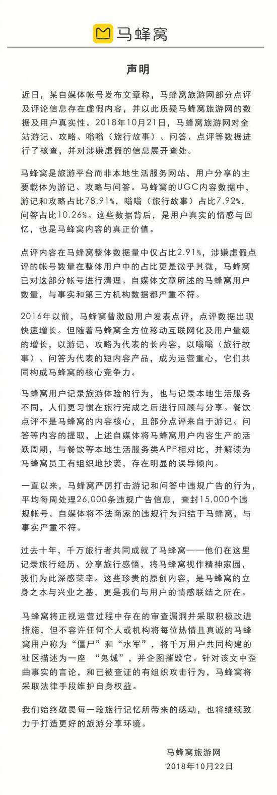 马蜂窝发回应评论造假:已被查证有组织攻击