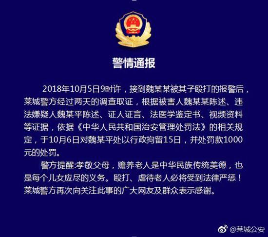 莱芜通报逆子踢踹老父致轻微伤 被拘15日罚一千