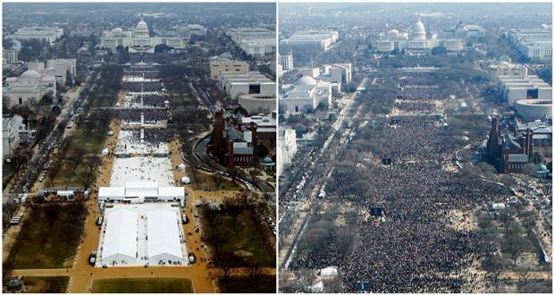 特朗普就职典礼人数少过奥巴马 摄影师被要求P图