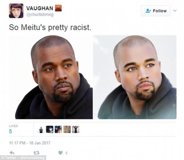 """国外网友指责美图秀秀""""种族歧视"""" 称被P成黄皮肤的照片"""
