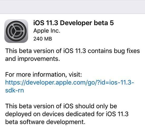 iOS 11.3 Beta 5发布 正式版已经不远了