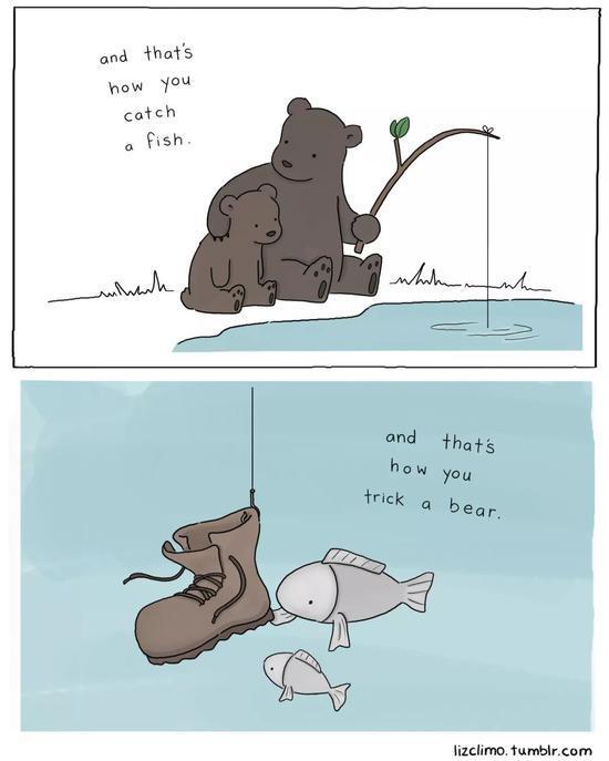 熊爸:你应该这样抓鱼。