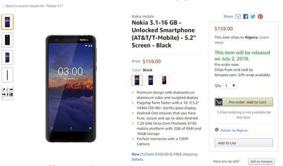 诺基亚3.1美国亚马逊开启预售:159美元