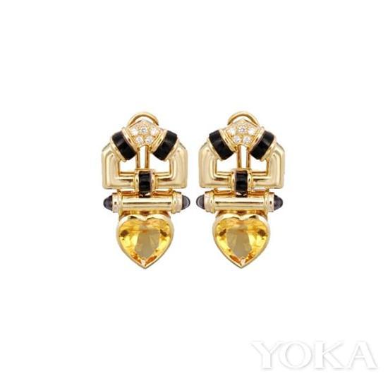 Art Deco风格黄水晶古董耳环。