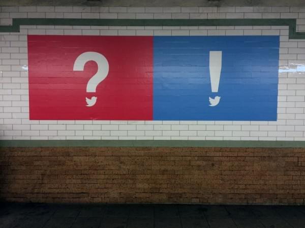 Twitter在纽约各个地铁站铺设神秘的广告