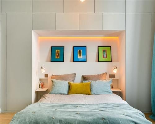 北欧风卧室,阁楼卧室,镂空隔断,榻榻米设计,青岛卧室设计