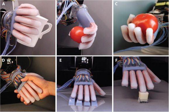 康奈尔大学创造可以感觉形状纹理的软性机器人手