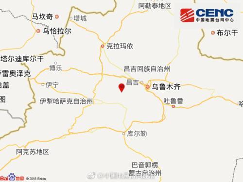 新疆昌吉州玛纳斯县发生3.7级地震 震源深度18千米