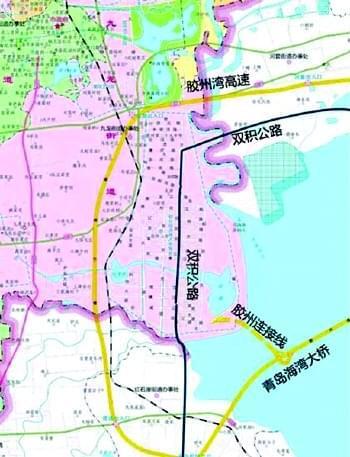 青岛海湾大桥胶州连接线示意图