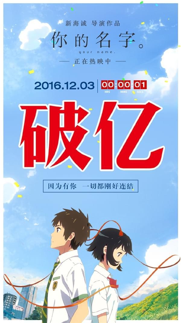 破亿!日本动画《你的名字》国内首日票房逆天的照片 - 3