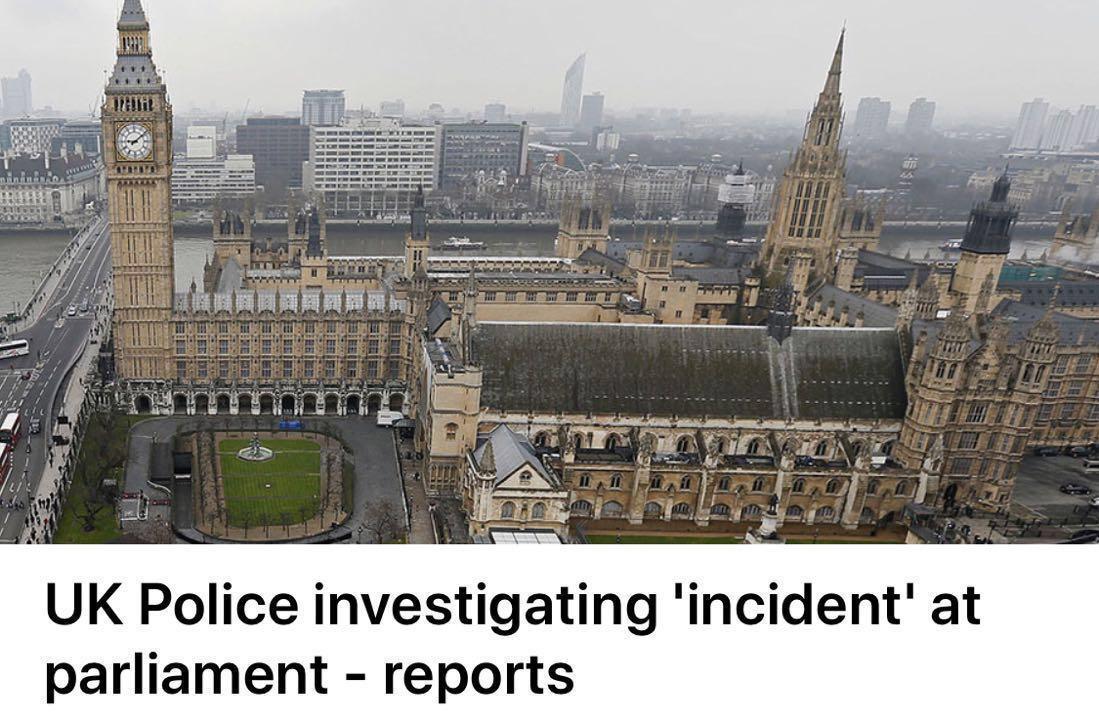 突发:英国议会大厦附近聚焦大量警察
