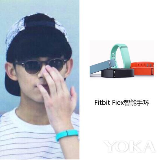 吴磊佩戴Fitbit Fiex智能手环(艺人图片来源于吴磊粉丝微博)