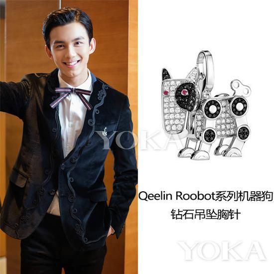 吴磊佩戴Qeelin胸针(艺人图片来源于吴磊工作室微博)