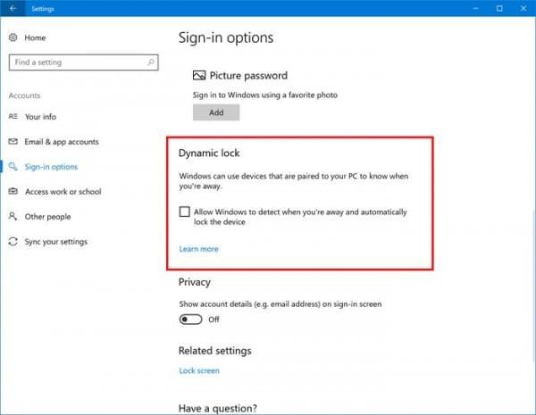 Windows 10新功能:离开PC后自动锁屏的照片