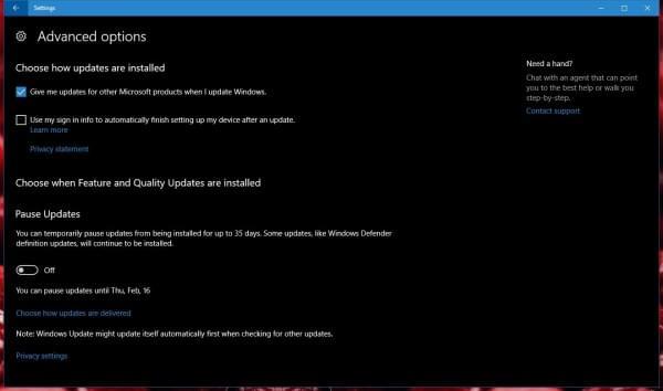 Windows 10家庭版用户将无法暂停创作者更新的照片