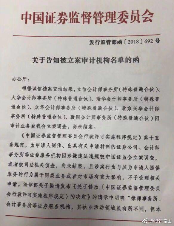 证监会停收6家会计师事务所IPO材料:138号文发威