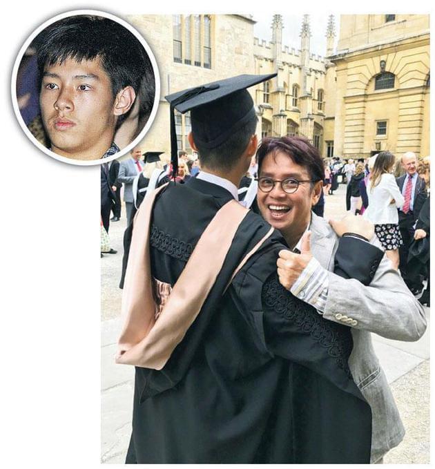 儿子谭晓风牛津硕士毕业 谭咏麟罕见晒父子合照