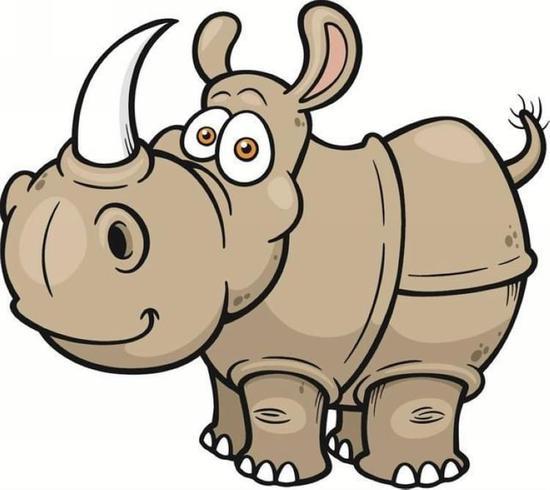 这个犀牛角上有一条白色的线,一直从头部贯穿到尾巴.