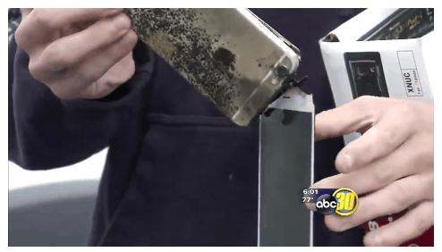 加州一台iPhone6 Plus充电时突然爆炸的照片