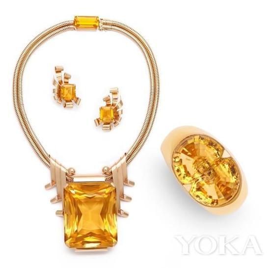 琼·克劳馥所佩戴的黄水晶珠宝套装。