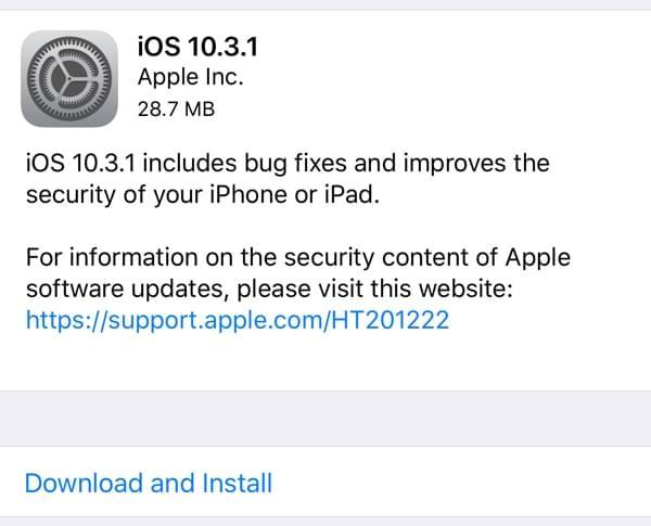苹果发布iOS 10.3.1:修复Bug,提高安全性的照片 - 2