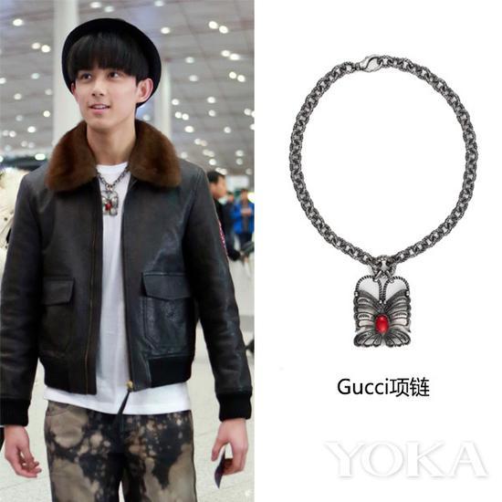 吴磊佩戴Gucci项链(艺人图片来源于吴磊工作室微博)