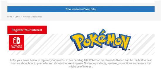 任天堂英国上线《宝可梦》相关页面:可订阅资讯