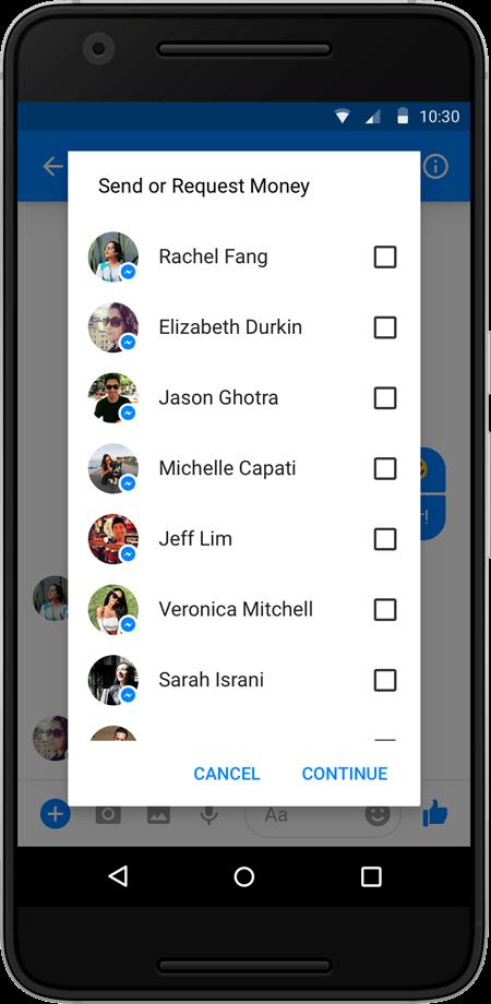 Facebook为Messenger应用添加群组付款功能