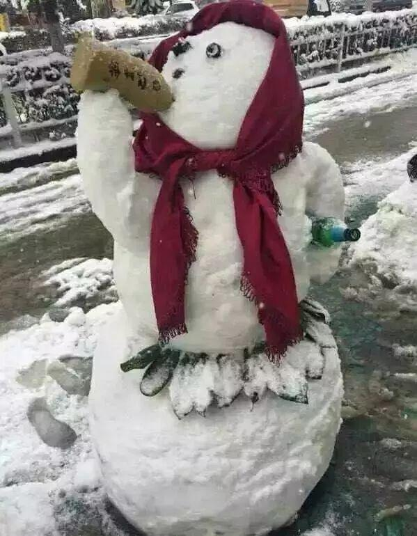 保安下雪天堆出个动物园 网友:地域限制了才华