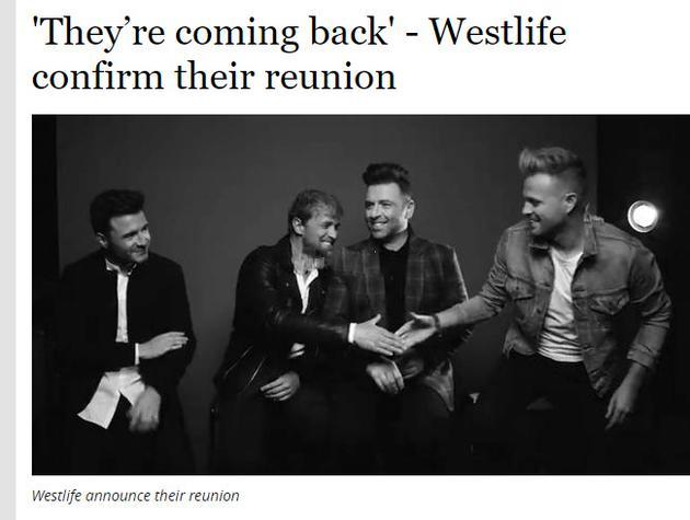 西城男孩宣布正式重组回归 将发新专辑进行巡演