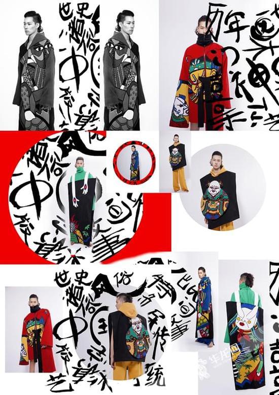 除了服装廓形,人物图案,元素提取,何羽雪在面料,贴布,棉线,珠绣,甚至