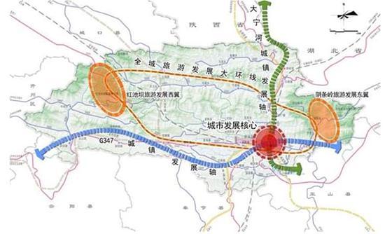 巫溪县城乡空间结构规划图(2015年)。重庆市规划局供图 华龙网发 全域空间规划提出,构建一核两轴,一环两翼的城乡空间结构。 从历版规划编制来看,每版总规都尊重了巫溪城市发展规律和基本的生态环境,保持了绿化隔离、组团集聚的生态化城市发展路径,也坚持了以旅游和生态保护为主的发展理念。由此可见,这个在《全国主体功能区规划》中处于秦巴生物多样性生态功能区的县城,正在努力承担维护生物多样性,保障国家生态安全的重要责任。 巫溪辣么美,为你推荐巫溪的美食美景:  》》美景推荐