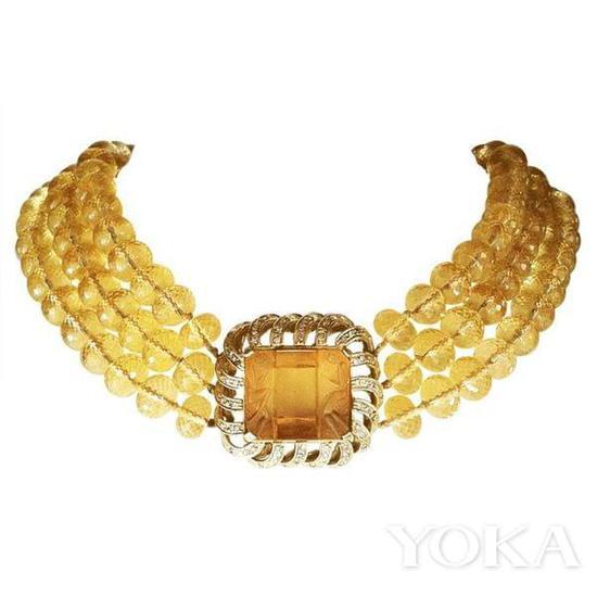 黄水晶古董项链。