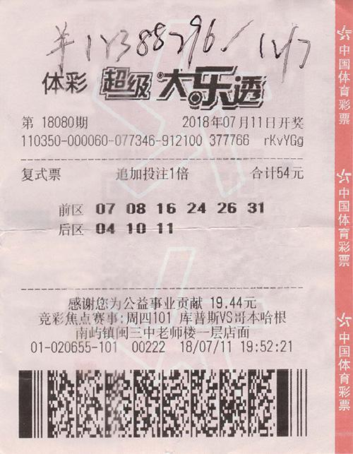 福州中奖者追加复式票 喜中大乐透1238万