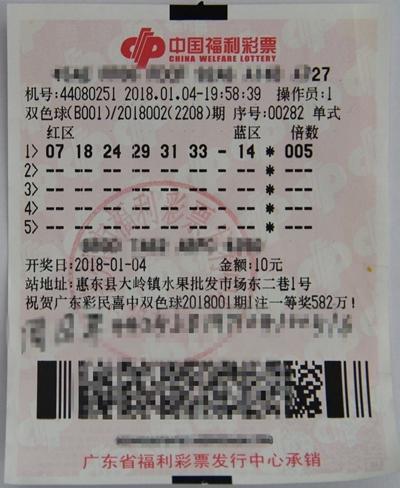 出票时间很惊险 广东一彩民10元中159万