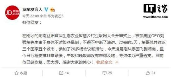 刘强东昨日险些晕倒:太忙来不及吃饭 身体已恢复