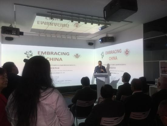 加拿大驻上海领事馆副总领事为企业站台。(后歆桐/摄)