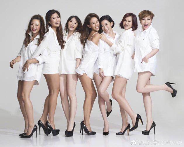 佘诗曼姐妹团庆祝相识十周年 穿白衬衫满屏大长腿