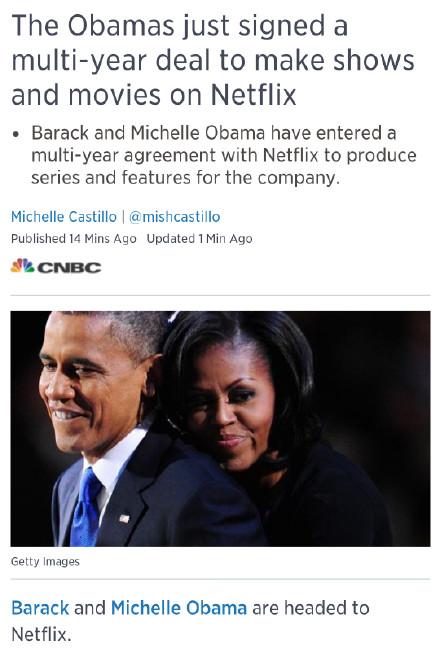 Netflix与奥巴马夫妇签协议 两人将参与影视制作