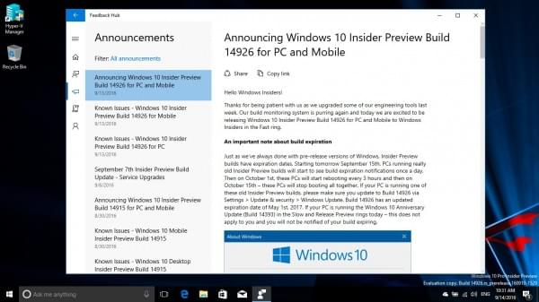 Win10 Build 14926发布:Insider旧版本10月15日后无法启动的照片 - 7