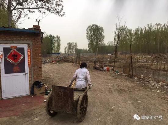▲4月13日,通州区北堤寺村南,租户将打扫出的粪便和废物倒入院后的池子中。    新京报记者 王飞 摄