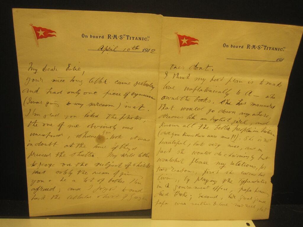泰坦尼克号乘客信件拍卖遇冷 底价3万欧元无人问津