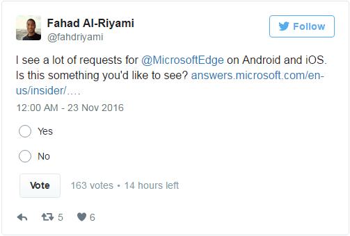 投票进行时:微软该推出Android/iOS版Edge浏览器吗?的照片 - 2