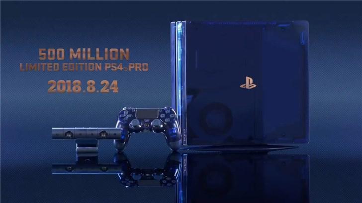 索尼推PS4 Pro 5亿纪念限定版:蓝色半透明机身
