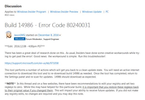 Windows 10新版14986升级报错:微软无解的照片