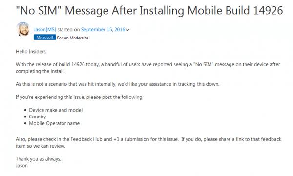 微软承认Win10 Build 14926致SIM和PIN码无法正常使用的照片 - 1