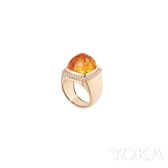 Fred Pain de Sucre系列可更换宝石黄水晶钻石黄金戒指,¥59,100。