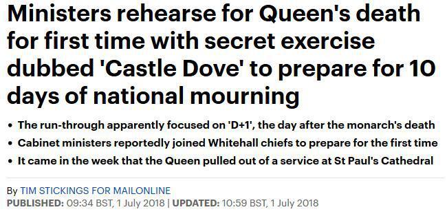 英国彩排女王驾崩